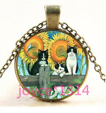 Vintage Flower Cat Cabochon bronze Glass Chain Pendant Necklace TS-6099