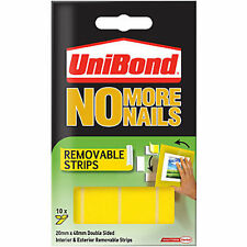 Unibond No More Nails 10x Double Sided Removable Mounting Strips 20mmx40mm - 2kg