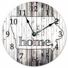 "IOWA RUSTIC HOME STATE CLOCK - Large 10.5"" Wall Clock - 2224"