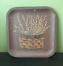 Primitive Wicker Basket With Pip Berries Decorative Plate