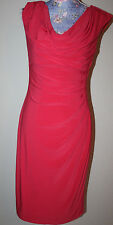 ralph lauren red stretch ruched drape top dress 10