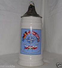 NATO Beerware Ceramic Tankard Mug Pewter Lid Head Eagle 50 Years Service Peace