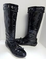 Christian Dior 38.5 8M Black Patent Leather Tall Boots
