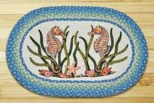 BRAIDED RUG--20 X 30 Oval 100% Jute Rug-- SEA HORSE