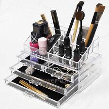 Make-Up Visualización del caso claro con 4 cajones Organizador de acrílico para maquillaje