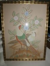 Arts and crafts silk birds in gilded bamboo frame
