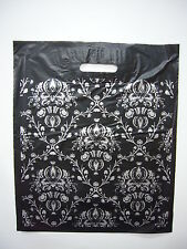 """Medium sized DAMASK PLASTIC CARRIER BAGS 15"""" x 18"""" PACK 100"""