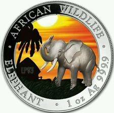 SOMALIA 2017 ELEPHANT 1 Oz SILVER COLORED MINTAGE 100 PCS BOX & COA v1..