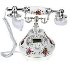 Retro Antique Resin Desk Telephone Corded Phone Print Silver & White flowers