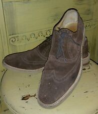 THOMAS DEAN ITALY BROWN SUEDE WING TIPS OXFORDS CASUAL SHOES MENS 9.5 M 42.5