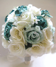 17 pc Wedding Bouquet Bridal Silk flowers TEAL MINT Green Cream Decorations