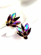VTG JULIANA D&E AMETHYST RUBY RED NAVETTE AB RHINESTONE FAN DESIGN CLIP EARRINGS