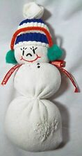 SOCK SNOW MAN COMPLETE WITH DARNED SOCK CHRISTMAS TIE AND EAR MUFFS.  11""