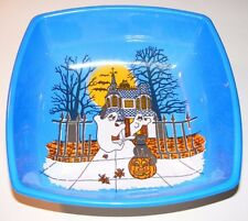 Vintage Halloween Candy Bowl Ghosts and Haunted House