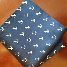 "US Seller New 10"" 100% Silk Pocket Square Men's Handkerchief  Navy Anchors"