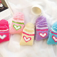 5Pairs Women Girls Winter Bed heart Socks Solid Fluffy Warm Soft Thick Home Best