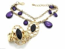 Purple Ladies Woman's Chain Dangles Slave Ring Attached