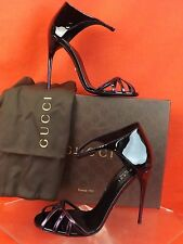 GUCCI MARGOT PURPLE BLACK PATENT LEATHER CAGE ANKLE STRAP SANDALS 39 9 # 334153