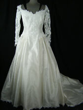 PRISCILLA OF BOSTON Vtg 70-80s White Lace Wedding Ball Gown-Bust 35/XXS-XS