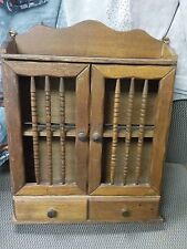 VINTAGE WOOD HINGED 2 DOOR & 2 DRAWERS TOP SHELF SPICE CABINET RACK HANG SIT