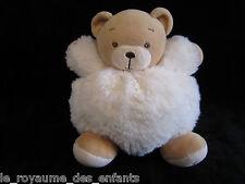 Doudou boule Ours marron fourrure blanc écru Fur Kaloo 15 cm