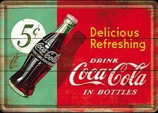 "Carte postale en métal / mini-signe ""Coca Cola Delicious Refreshing"""