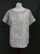 M&S Collection Paisley Print Top Size 12 Linen Mix Casual White Taupe