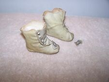 Antique Ecru French Fashion or German Bisque Doll Boots/Shoe Buttons Oil Cloth