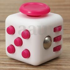 Fidget Magic Cube Anti-anxiety Stress Relief Focus Kids Adults Toy White&Pink