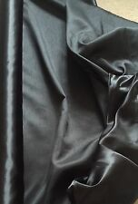 """Fab Black Satin Backed Dupion Fabric - Polyester - 112cm or 44"""" wide - Per Metre"""