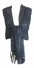 Stunning Elegant Ladies Women's Girls Black Glittery* Scarf Stole Wrap Pashmina