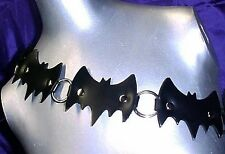 new! BAT~BeLT BLaCK-LeAtHeR SiZE:MeDiUM gOth pUnk
