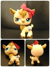 Littlest Pet Shop Chèvre Yeux Bleux #1316 Tan Brown BILLY GOAT Blue Eyes + Bow