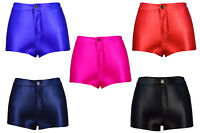New High Waisted Shiny Stretch Disco Shorts Fashion Apparel Hot Pants Size 6-14