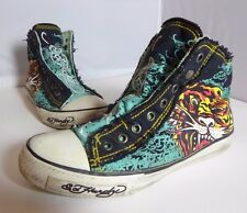Don Ed Hardy Designs Women's Sz 7 US Black/Blue Hightop Ankle Shoes Snap Tiger