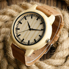 100% Nature Wood Bamboo Genuine Leather Band Strap Wooden Men Women Wrist Watch