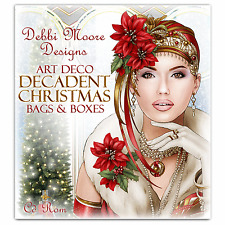 Debbi Moore Designs ~ Art Deco Decadent Christmas Bags & Boxes CD Rom NEW