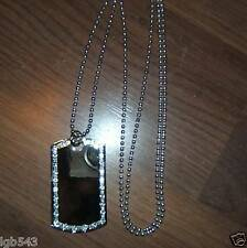 MIP- Chrome Dog Tag with one row of CZ stones and a 36 inch ball chain