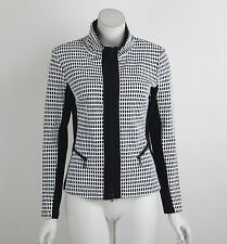 New Joseph Ribkoff Jacket Black White Checked Long Sleeves Zip Front Size 8 NWT