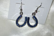 Horseshoe Drop Earrings Blue Crystals Western Cowgirl Horse Ranch Free Ship