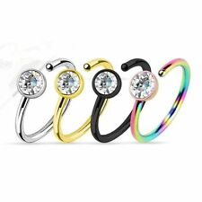 Nose Ring hoop black gold multi color and silver with clear gem 4pc 20g 5/16
