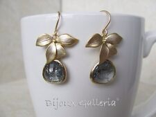 Gold Plated Orchid With Dangling Tearsrop Gemstone Earrings