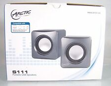 NEW!~ARCTIC~S111 PORTABLE USB SPEAKERS~GRAY/SILVER~IPAD/IPHONE/IPOD COMPATIBLE