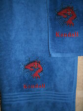 Personalized Spiderman Crawling 2 Piece Bath Towel Set  Your Color Choice