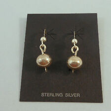 CALVIN LARGO - NAVAJO .925 STERLING SILVER HOLLOW BEAD DANGLE EARRINGS