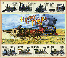 Guyana 1994 MNH Trains 8v M/S II Railways Locomotives Steam Engines Züge Stamps