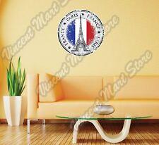 "Paris France Country Flag Stamp Wall Sticker Room Interior Decor 22"""
