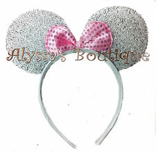 Minnie Mouse Ears Headband Shiny Silver With Pink Bow Birthday Party Favors Cute
