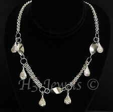 18k solid white gold stylish necklace 16 inches  dangling  h3jewels #2386
