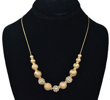 "New ICED Gold color Rhinestone crystal ball & 1mm/ 8"" ~ 52"" Adjustable Necklace"